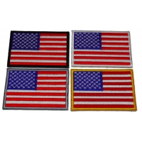 Set of 4 Different Border Colored American Flag Patches in Red White and Blue