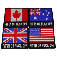 Set of 4 Fit in Or Fuck Off Flag Patches