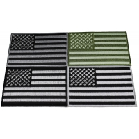 Set of 4 Monochrome American Flag Patches 5 inches