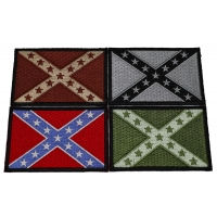 Set of 4 Rebel Flag Patches in Different Colors