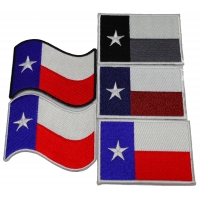 Set of 5 Texas Flag Patches Waving and Rectangular