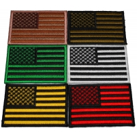 Set of 6 American Flag Patches in different Colors