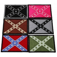 Set of 6 Confederate Flag Patches in Different Colors