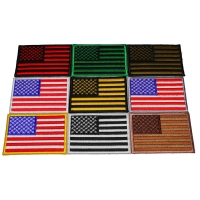Set of 9 American Flag Patches in Different Color Combinations