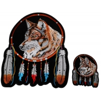 Small and Large Wolf with Feathers set of 2 Patches