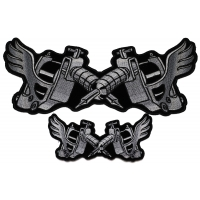 Tattoo Gun Patches With Wings Small And Large