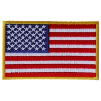 Us Flag Patch 4 Inch Yellow Border | Embroidered Patches