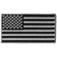 US Flag Patch Black And Gray 3.5 Inch