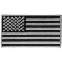 US Flag Patch Black And Gray 4 Inch