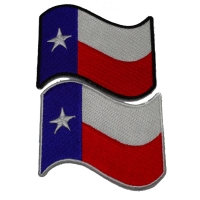 Waving Texas Flag Patches With Black And White Border Set Of 2