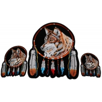 Wolf with Feathers Small Medium and Large Set of 3 Patches