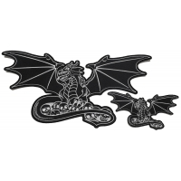 Black Dragon and Skulls Patches -2 Pack Small and Large