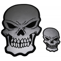 Reflective Skull Patches 2 Pack Small and Large