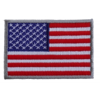 American Flag Patch Silver Border | Embroidered Patches