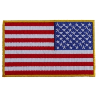 American REVERSED Flag Patch with Yellow Borders