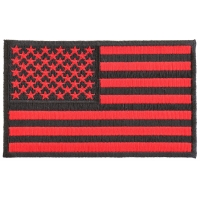 Black And Red American Flag Patch 4 Inch   US Military Veteran Patches