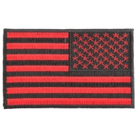 Black And Red Reversed American Flag Patch 4 Inch | US Military Veteran Patches