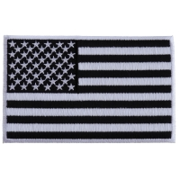 Black and White American Flag Patch with White Borders
