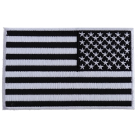 Black and White American REVERSED Flag Patch with White Borders