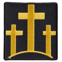Black And Yellow Three Crosses Patch | Embroidered Patches