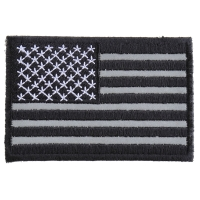 Black White And Reflective US Flag Patch | Embroidered Patches