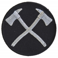 Crossed Firefighter Axes In Silver Patch | Embroidered Patches