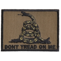 Don't Tread On Me Gadsden Flag Black Over Army Green Patch | US Military Veteran Patches