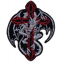 Dragon Skeleton Cross Patch Small | Embroidered Patches