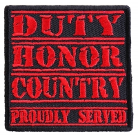 Duty Honor Country Red Patch | US Military Veteran Patches