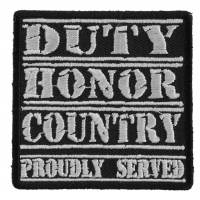 Duty Honor Country White Patch | US Military Veteran Patches