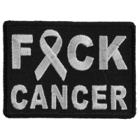 FCK Cancer White Ribbon Patch | Embroidered Patches