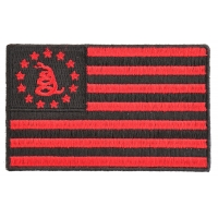 Gadsden American Flag Red Black Patch | Embroidered Patches
