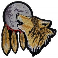 Howling Wolf With Moon 6 Inch Patch | Embroidered Patches