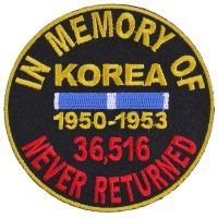 In Memory Of Korea Round Patch | US Military Veteran Patches