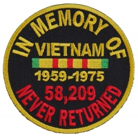 In Memory Of Vietnam Round Patch | US Military Vietnam Veteran Patches