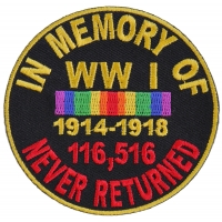In Memory Of World War 1 Round Patch | US Military Veteran Patches