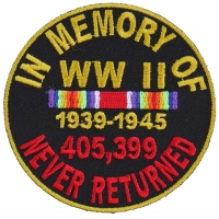 In Memory Of World War 2 Round Patch | US Military Veteran Patches