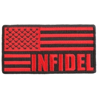 Infidel American Flag Black Red Patch | US Military Veteran Patches