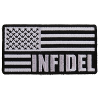 Infidel American Flag Black White Patch | US Military Veteran Patches