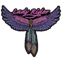 Lady Rider Wings And Feather Small Tribal Patch | Embroidered