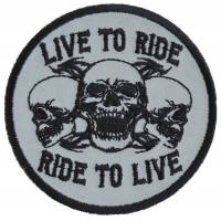 Live To Ride Ride To Live Three Skulls Patch - Skull Patches