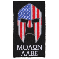 Molon Labe Spartan Patch With US Flag | Embroidered Patches