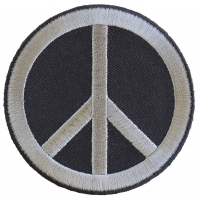 Peace Sign Patch Gray On Black