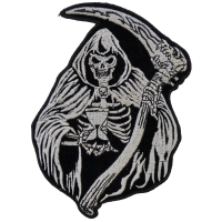 Reaper Skull Sand Clock Small Patch | Embroidered Biker Patches