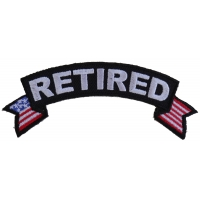 Retired Small Rocker Patch With American Flag Tips | US Military Veteran Patches