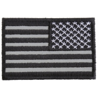Reverse Black Reflective US Flag Patch | Embroidered Patches