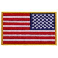 Reversed US Flag Patch 4 Inch Yellow Border | Embroidered Patches