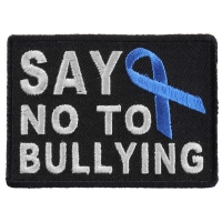 Say No To Bullying Blue Ribbon Patch | Embroidered Patches