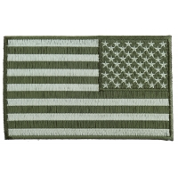 Subdued Green American REVERSED Flag Patch