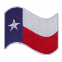 Texas Waving Flag White Border Patch | Embroidered Patches
